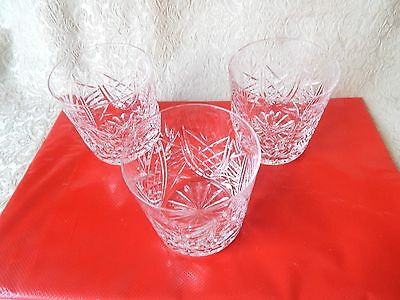 WATERFORD CRYSTAL - IRELAND - SET OF 3 FLAT - HIGH BALL GLASSES - LISMORE?