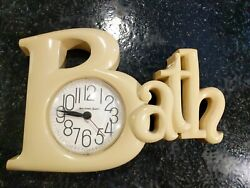Vtg Bath Spelled Out Plastic Wall Clock Beige/Tan by New Haven Quartz 2654