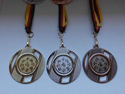Hunde 9 Hundeköpfe Pokal Kids Medaillen 3er Set Deutschland-Band Turnier Hund