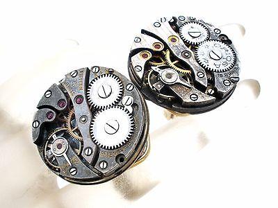 Steampunk Swiss Watch Cufflinks Vintage Gruen Watches Silver Cuff Links Mens - Steampunk Dress Up Male