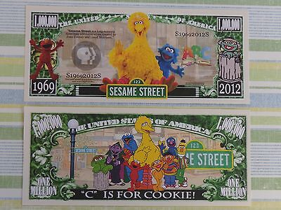 SESAME STREET Children's TV Show; Big Bird <> $1,000,000 One Million Dollar Bill