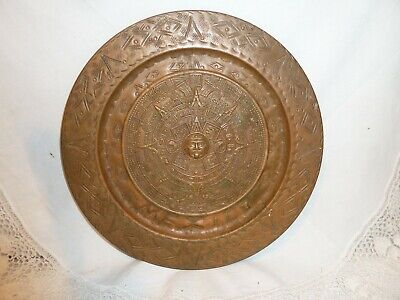 ANTIQUE VINTAGE COPPER CHARGER PLATE TRAY MEXICO WALL DECOR ART OLD CALENDAR
