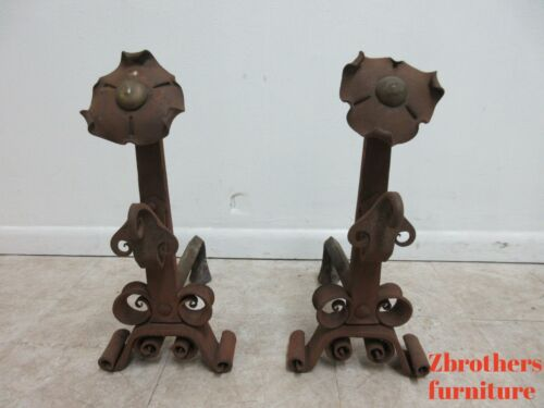 Pair Antique Hand Forge Wrought Iron Firedogs Andirons Spanish Renaissance Style
