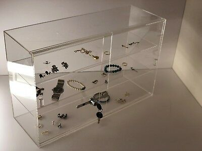 Jewelry Acrylic Display Showcase 21 14x7 12x13 14h Sliding Door 3 Shelves