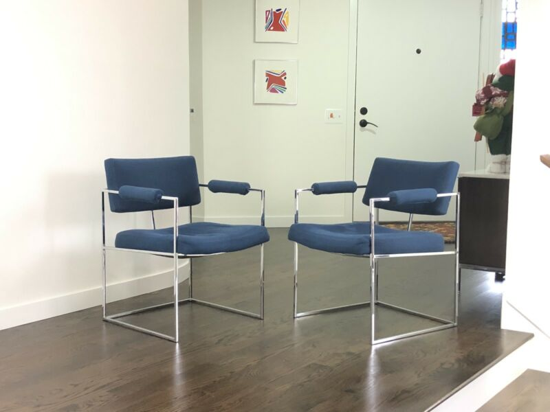 Pair Of Mid Century Modern Milo Baughman Side Chairs
