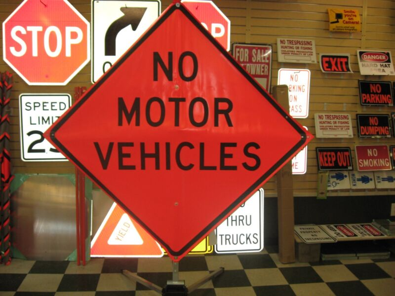 """No Motor Vehicles Fluorescent Vinyl With Ribs Road Sign 48"""" X 48"""""""