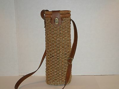 WINE BOTTLE RATTAN CARRIER COOLER WITH SHOULDER STRAP VERY NICE
