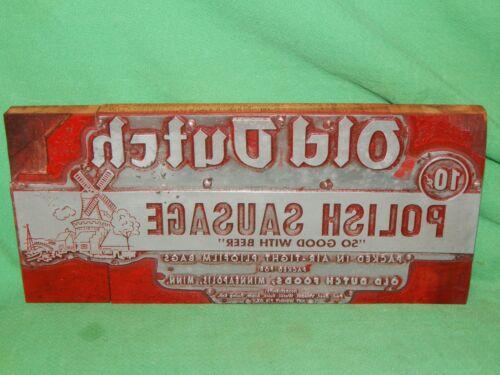 Vintage Old! Letterpress Printing Block OLD DUTCH POLISH SAUSAGE Advertising