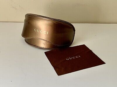 GUCCI Case Sunglasses Eyeglasses W/ Cleaning Cloth Golden Brown X-Large Vintage.