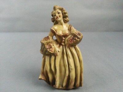 Lady Statuette Figure Signed Georgia Woman in Dress Chalk Style figure