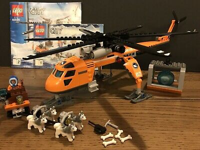 LEGO City 60034 Arctic Helicrane Helicopter Huskies Figures & Instructions
