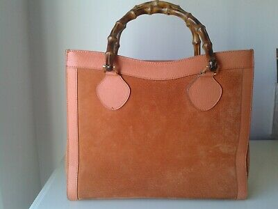 VINTAGE GUCCI BURNT ORANGE SUEDE/LEATHER BAMBOO HANDLE  MEDIUM SIZE TOTE BAG
