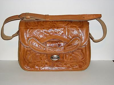 Vintage 1950's Hand Tooled Leather Shoulder Bag Made in Mexico