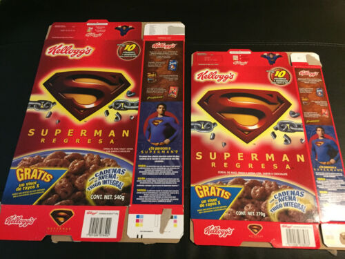 SUPERMAN Returns RARE Mexico Cereal Boxes 2006 Kelloggs 2 Sizes Mexican Import