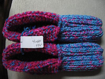 "New Amish Handmade Slippers w/Cuffs Turquoise/Pink Mix Wms Lg Mans Medium 9 3/4"""