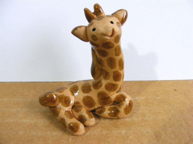 Little Guys Giraffe Laying Down Miniature Animal Figurine Cindy Pacileo Pottery