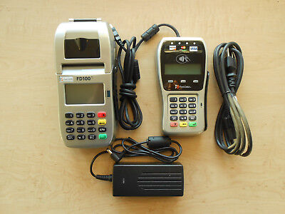 First Data Credit Card Terminal Fd100ti With Pin Pad Fd-35 And Power Supply