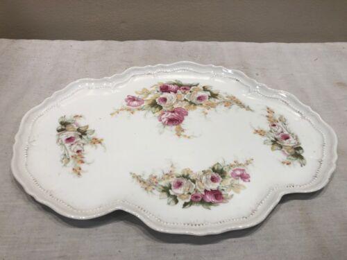 Vintage ROYAL AUSTRIA O & EG PORCELAIN Dresser Vanity Plate Tray Flowers