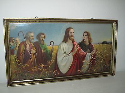 Antik Heiligenbild Schutzbild Jesus, Aposteln Holzrahmen Kurnstdruckbild Shabby