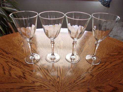 "Optic Ribbed Crystal Wine - Set of 4 - 8 1/8"" Wafer Ball Stem"