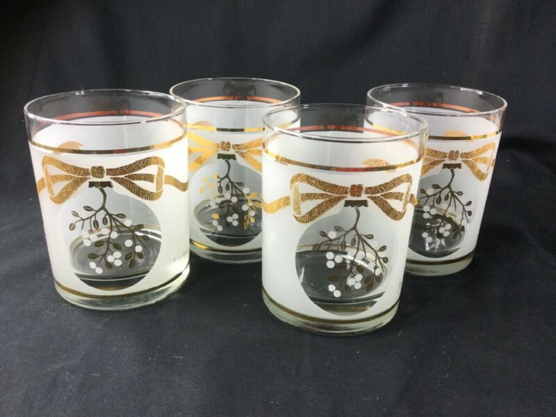 Vintage Neiman Marcus Set Of 4 Christmas Holiday Gold Bow Highball Glasses.