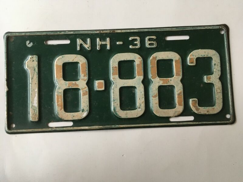 1936 New Hampshire License Plate 100% All Original Paint