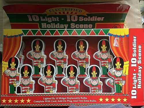 Vintage Christmas Light Set 10 Standup Toy Soldiers tested and works NIB  Tony
