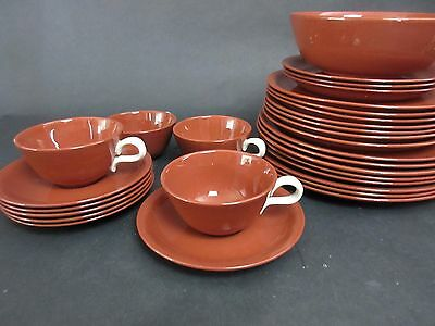 Vintage SUNTONE 4 Cups & 5 Saucers BY HOMER LAUGHLIN Rust/Chocolate Color