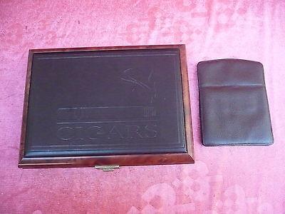 Beautiful Wooden Box__ Cigar Box __ Edelholz-Leder __+ Zigarren-Lederetui