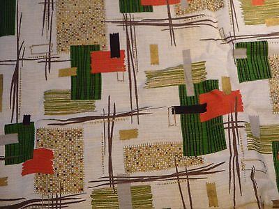 Vtg Barkcloth Fabric Abstract Geometric Atomic Era Mid Century MCM 3 yds Lot #4