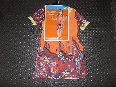 New Flower Power Hippie Dress Headband Dress-up Halloween Costume Girls L 10-12 (Hippy Dress Up)