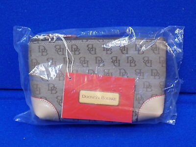 NWT Dooney & Bourke Signature Handbag Cosmetic Case WH6Q Brown Tan DB logo Small