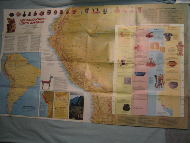 ARCHAEOLOGY + INDIANS OF SOUTH AMERICA MAP National Geographic March 1982 MINT