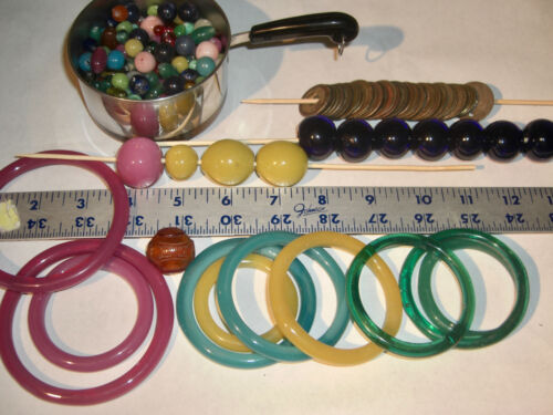 Antique vintage Chinese Peking Glass Basket Rings Beads Coins Large Lot