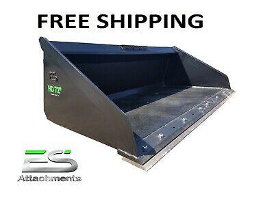 Es 72 Heavy Duty High Capacity Bucket Skid Steer Quick Attach Free Shipping