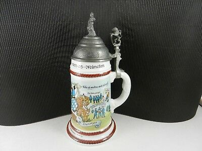 Souvenir Stein - Souvenir Military Stein Pewter Lid Lithopane Officer Woman White 10 1/2