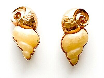 Vintage Guy Laroche  signed rose gold tone and cream clip earrings, preowned