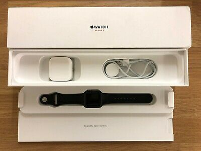 Boxed Apple Watch Series 3 38mm Cellular Space Grey Aluminum Case Black Band