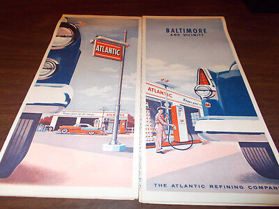 1956 Atlantic Baltimore and Vicinity Vintage Road Map / Nice Cover Graphics