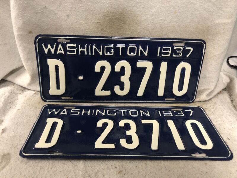 Vintage 1937 Washington License Plate Pair REPAINTED YOM DMV