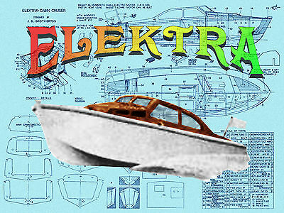"Build model boat for R/c 21"" Cabin Cruiser boat full size Printed PLAN"