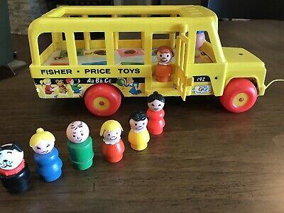 Vintage  Fisher Price Little People Play School BUS #192   Wood