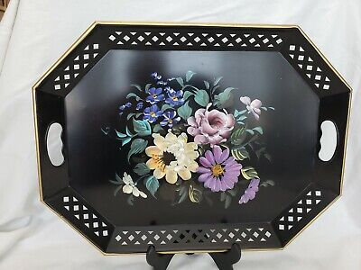 Nashco hand painted metal tray 20x15in