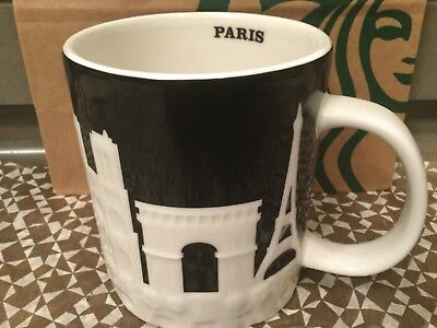 Starbucks City Mug, PARIS, Relief Collection, Black-White, New with SKU, 16 oz.