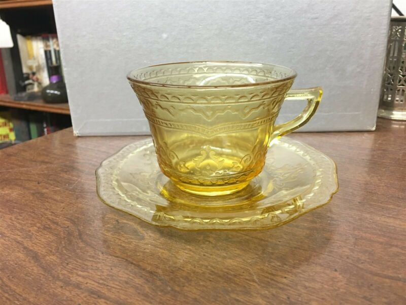 Federal Patrician Spoke Amber Yellow Depression Glass Cup & Saucer