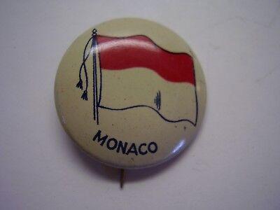 Vintage Metal Pinback Monaco Flag