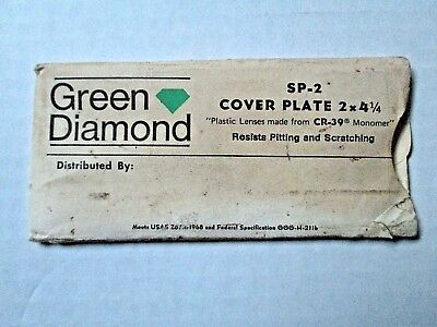 Vintage Green Diamond Sp-2 Cover Plate Lens Cr-39 2 X 4 14