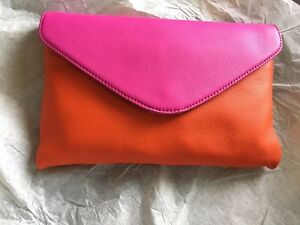 J Crew Invitation Envelope Colorblock Leather Clutch Purse Pink Orange NWT $88