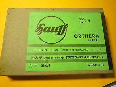 Original Hauff-Orthera Foto-Platten, unbelichtet, in OVP,12 Stück 13°/10 DIN