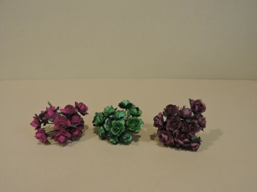 """24 Bunches Mulberry Mini Rose Paper Flower(5/8"""")(288 S.Flower) (PICK ANY COLORS)"""